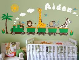 Jungle Safari Animals Train Wall Decal Monkey Zebra Giraffe Elephant Styleywalls On Artfire