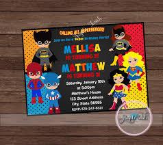 Super Hero Party Invitation Superheroes Birthday Invitation