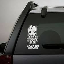 Baby On Board Cute Groot Car Truck Laptop Toolbox Pet Decal Sticker 5 5 Inches Ebay