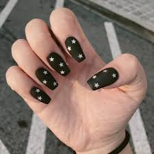 Nailsbykittty Does It Again Matte Black With Silver Stars Cute