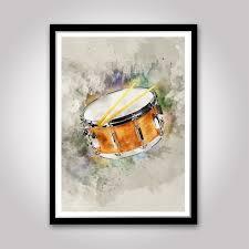 Snare Drum Art Watercolour Wall Decor Art Music Poster Idea Etsy