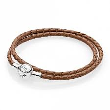 double woven brown leather bracelet