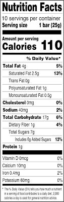 granola bar nutrition label