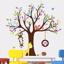 Amazon Com Amaonm Removable Creative Brown Tree Wall Decals Cute Cartoon Animals Wall Stickers Murals For Kids Room Bedroom Monkey Owls Koala Wall Decor Nursery Room Home Art Decor Living Room Decorations Home