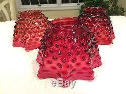 set of 3 vintage antique cranberry ruby