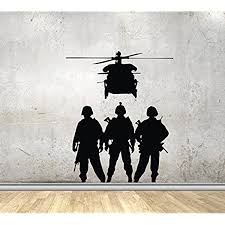 Amazon Com Wall Decals Military Army Silhouette Veteran Soldiers Helicopter Decor Stickers Vinyl Mk1705 Home Kitchen