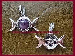 amethyst triple moon pentagram pendant