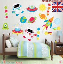 Space Wall Stickers Rocket Spaceman Theme Planets Star Etsy