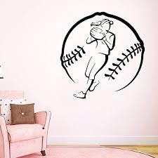 Shop Girl Softball Player Decal Gym Wall Decor Sport Home Interior Art Mural Dorm Bedroom Decor Sticker Decal Size 33x33 Color Black Overstock 14410664