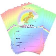 Aytai 20pcs Invitaciones De Cumpleanos De Rainbow Unicorn Con