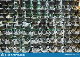 Many Small Empty Black Plastic Pots Were Hung On A Metal Fence Stock Photo Image Of Backdrop Frame 176787536