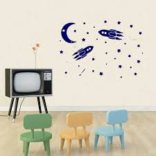 Rocket Ship Wall Decals Space Moon And Stars Decal Nursery Baby Boy Room Vinyl Sticker Window Home Mural Decor Wl1586 Wall Stickers Aliexpress
