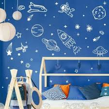 Diy Space Wall Decal For Kids Bedroom Cosmos Decals Planets Earth Rocket Murals Space Poster Stickers Boy Room Wallpapers Lc1797 Buy At The Price Of 12 98 In Aliexpress Com Imall Com