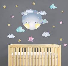 Amazon Com Moon Sticker Clouds Wall Decals Stars Wall Decals Kids Room Wall Decor Smiling Clouds Wall Sticker Removable Wall Art Decor Arts Crafts Sewing