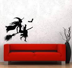 Wall Decal Halloween Witch Broom Black Cat Magic Flight Night Moon Vin Wallstickers4you