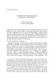 "The Origin of the Designation of Jesus as ""Son of Man"""