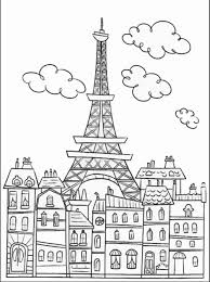 Paris Buildings And Eiffel Tower Paris Coloring Pages For Adults