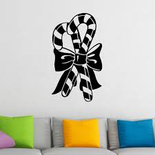 Candy Canes And Bow Christmas Wall Sticker Decal World Of Wall Stickers