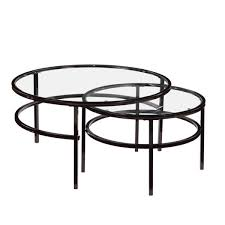 nesting round coffee table set glass