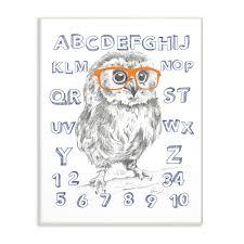 The Kids Room By Stupell Sketch Alphabet Studious Owl Drawing Wall Plaque Art 10 X 0 5 X 15 Walmart Com Walmart Com