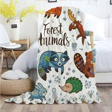 Amazon Com Ylljy00 Cabin Decor Throw Blankets Flannel Plush Velvety Super Soft Cozy Warm With Set Of Cute Woodland Animals Tribal Nature Elements Kids Room Nursery Wall Art Printed Pattern 70 X 90 Multicolor Home Kitchen