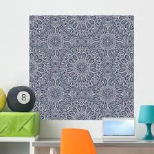 Beige Blue Arabic Mandala Wall Decal Wallmonkeys Com
