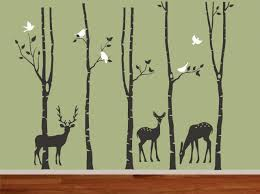 Jungle Tree Wall Decal Three Deers Forest Tree With Birds Leaf Leaves Bird Home House Baby Room Deca On Luulla