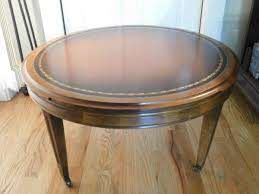 round leather coffee table retro wooden