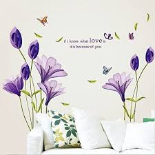Livegallery Beautiful Lovely Lily Flowers Wall Decals Removable Diy Butterfly Flower Vines Art Decor Wall Stickers Murals For Living Room Tv Background Kids Gilrs Rooms Bedroom Decoration Purple Amazon Com