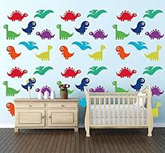 Amazon Com Colorful Dinosaurs Wall Decal Baby Boy Nursery Wall Decal For Baby Room Decorations Mural Wall Decal Sticker For Home Children S Bedroom J68 10 Dinosaurs Baby