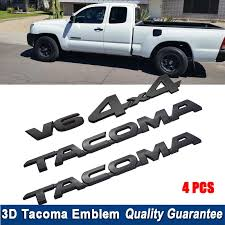 4pcs Set For Tacoma 4x4 V6 Trunk Car Door Tailgate Emblems Badge Decal For Toyota Tacoma Matte Black Emblems Aliexpress