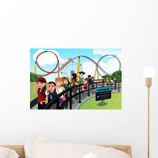 Children Waiting In Line For A Roller Coaster Ride Wall Decal Wallmonkeys Com