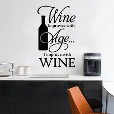 Wine Kiln Wall Sticker Wine Bottle Vinyl Decal Winery Removable Art Mural Quotes Improve With Stickers Bar Decals Wall Stickers Aliexpress