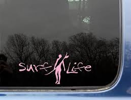 Surf Life In Pink 8 X 3 1 2 Cool Surfer Girl Die Cut Vinyl Window Decal Sticker For Windows Truck Car Laptop Not Printed Sup Deals Com