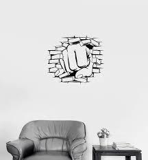 Wall Decal Fist Strike Broken Wall Strength Vinyl Sticker Unique Gift Wallstickers4you