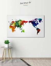 Unique World Map Wall Art Canvas Print At Texelprintart
