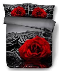 royal linen gray red rose duvet cover