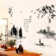 2017 New Chinese Style Bamboo Wall Stickers Lotus Flower Living Room Home Decoration Wall Decal Decor Wallpaper Vintage Poster Leather Bag
