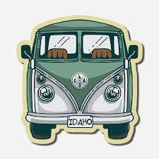 Green Vw Bus Sticker Cda Idaho Clothing Company