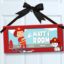 Amazon Com Little Firefighter Fireman Personalized Kids Door Wall Sign Room Decor Bedroom Decor Wall Accessory Home Kitchen