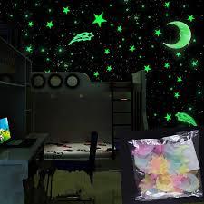 100pcs Set Night Luminous Moon Star Stickers Light Up Glow In The Dark For Baby Kids Bedroom Decor Xmas Halloween Birthday Gift Glow In The Dark Toys Aliexpress