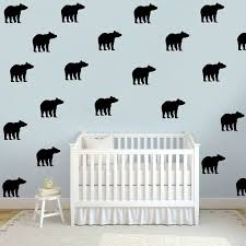 Bear Wall Decals Faux Wallpaper Black Bear By Theslumberjackbaby Bear Party Wall Decals Nursery Wall Decals Removable Wall Decals
