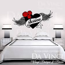 Amazon Com Personalized Heart Flower Roses Wings Angel Custom Name Vinyl Wall Decal Sticker Large 31 X 15 Kitchen Dining