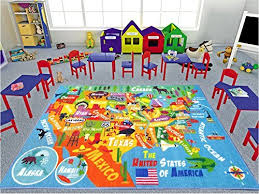 Kc Cubs Playtime Collection Usa United States Map Educational Learning Game Area Rug Carpet For Kids And Children Bedrooms And Playroom 3 3 X 4 7 Kitchen Dining B0732frygc