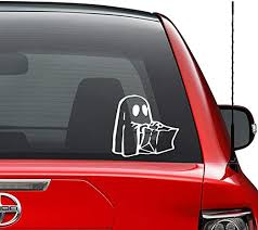 Amazon Com Ghost Costume Trick Or Treat Halloween Vinyl Decal Sticker Car Truck Vehicle Bumper Window Wall Decor Helmet Motorcycle And More Size 7 Inch 18 Cm Wide Color Matte White