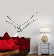 Vinyl Wall Decal Abstract Lines Hands Lovers Love Romantic Bedroom Sti Wallstickers4you