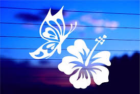 Butterfly And Hibiscus Car Decal Sticker