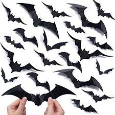 Amazon Com Ivenf Halloween Decorations Bat Wall Decals Stickers Decor 100 Pack Extra Large 3d Bats Window Decals Bat Halloween Door Decor Home Kitchen