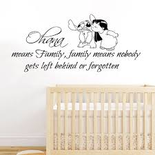 Lilo Stitch Wall Decals Quote Ohana Family Means Nobody Gets Left Behind Or Forgotten Vinyl Decal Wall Stickers Quotes Family Baby Room Decor Nursery Baby Room