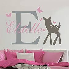 Amazon Com Nursery Wall Decal Vinyl Deer Wall Decal Butterfly Decal Personalized Name Wall Sticker Nursery Wall Mural Graphic Home Art Decoration Home Kitchen